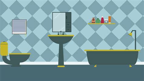 cartoon modern colorful bathroom animation  space