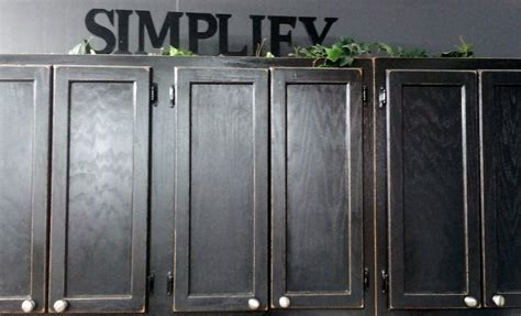 Wall Mounted Old Oak Kitchen Cabinet Painted With Black
