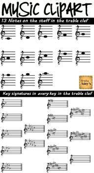 clip art treble notes  key signatures