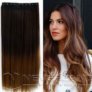 "24"" One Piece Clip In Straight Synthetic Dip Dye Ombre ..."