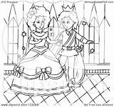Cinderella Outline Coloring Prince Dancing Royalty Clipart Illustration Rf Copyright Bannykh Alex Protected License Law Without sketch template