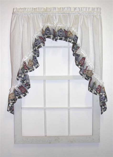 country birdhouses ruffled swags window curtains pair