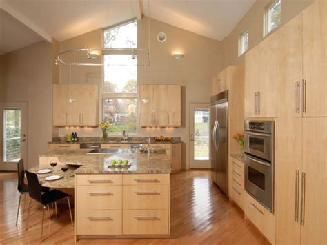 Light wood floors and kitchen cabinets, maple kitchen