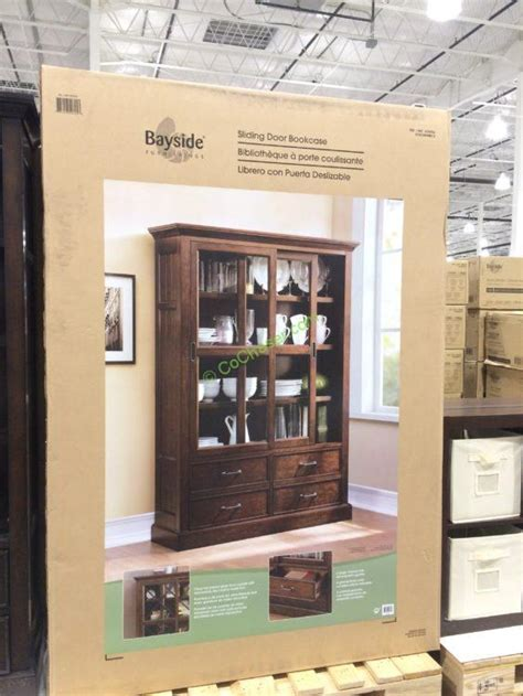 Costco Bayside Bookcase by Bayside Furnishings Sliding Door Bookcase Costcochaser
