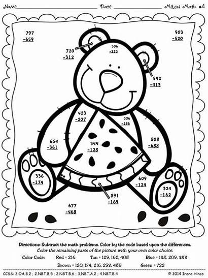Subtraction Addition Number Coloring Pages Math Printables