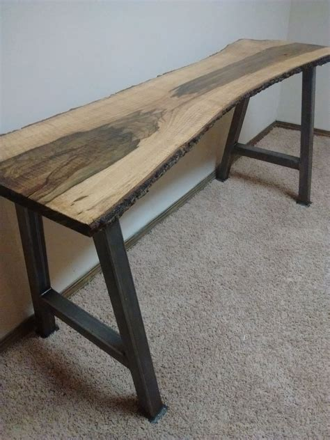 metal legs for a desk buy handmade live edge furniture live edge blackjack oak