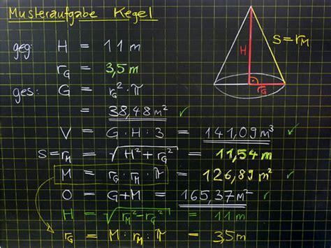 mathematik geometrie tafelbilder kegel berechnung