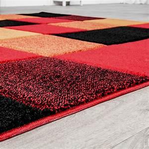 Teppich Rot Schwarz : teppich wohnzimmer modern karo muster mit konturenschnitt in rot orange schwarz ebay ~ Eleganceandgraceweddings.com Haus und Dekorationen