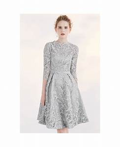 modest short wedding dresses lace a line 3 4 sleeve full With 3 4 sleeve short wedding dress