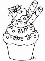 Cupcake Coloring Pages Birthday Printable Recommended sketch template