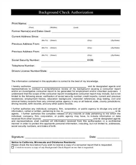 blank authorization forms   excel ms word