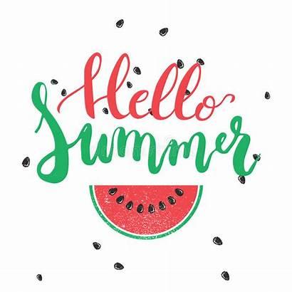 Hello Summer Watermelon Background Colorful Hand Phrase
