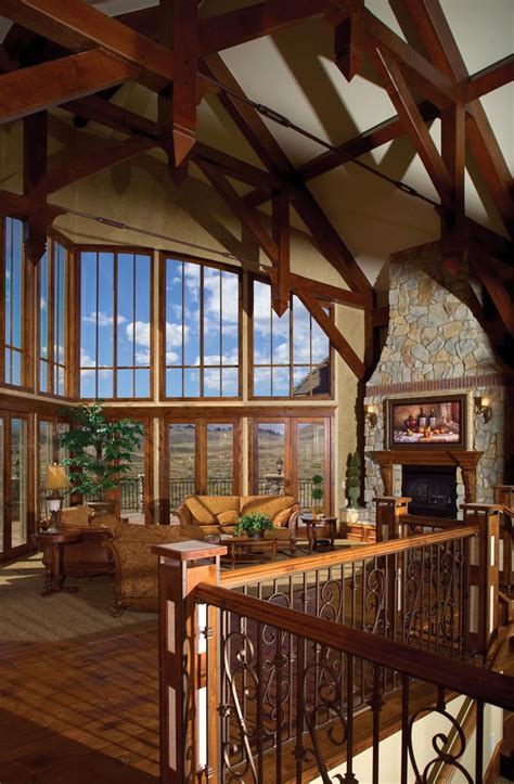 great room house plans rustic lodge style great room is topped with wood beams