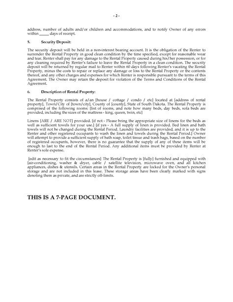 south dakota vacation property rental agreement legal