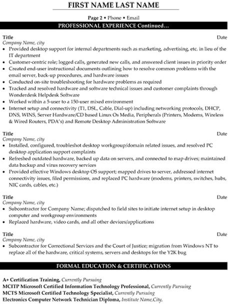 resume format of desktop support engineer technical support engineer resume sle template