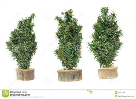 Miniature Plastic Christmas Tree Figures Stock Image