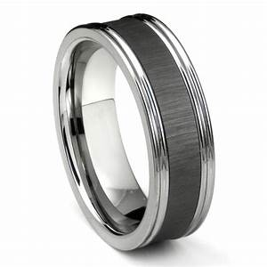 Tungsten Carbide Black Ceramic Inlay Wedding Band Ring W