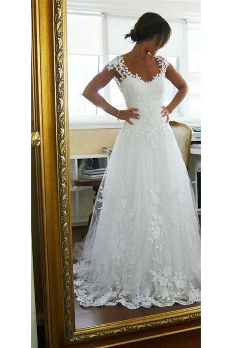 cap sleeves lace bridal wedding dresses wd