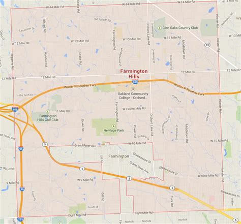 farmington hills michigan map