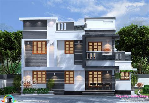 bedroom flat roof box model home plan kerala home