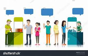 People Queue Get Free Sample Product Stock Vector ...