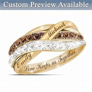 together in love personalized mocha and white diamonds With bradford exchange wedding rings