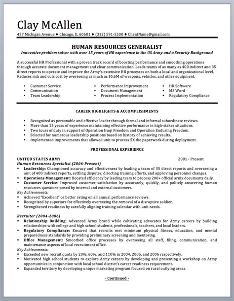 To Civilian Resume Template by Professionally Written Resume To Civilian Sle