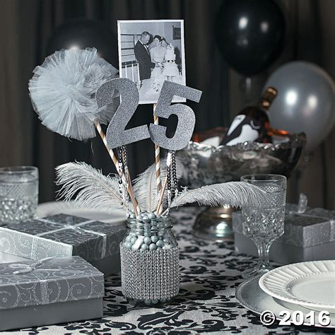 25th Anniversary Party Mason Jar Centerpiece Idea