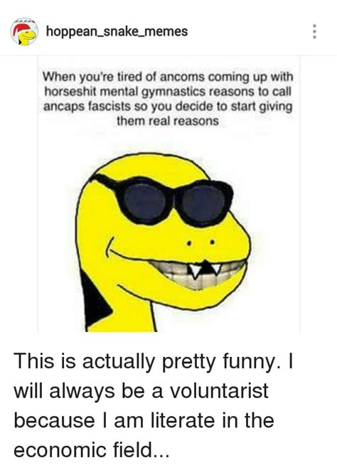 Hoppean Snake Memes - hoppean snake memes when you re tired of ancoms coming up with horseshit mental gymnastics