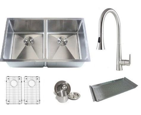 kitchen sink and faucet combo ariel double bowl kitchen sink and faucet combo 32 quot modern kitchen sinks by emodern decor