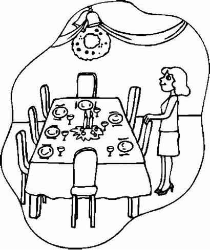 Table Thanksgiving Coloring Drawing Dinner Christmas Pages