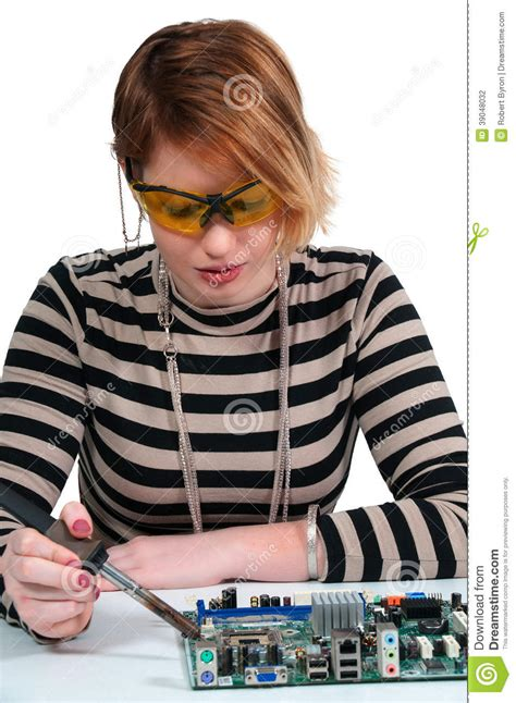 Woman Soldering Stock Photo Image Printed Computers