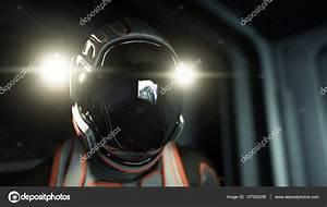 alone astronaut in space. Sci fi futuristic corridor. view ...