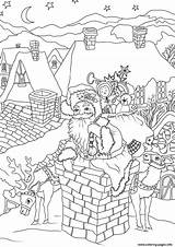 Santa Coloring Pages Claus Christmas Chimney Printable Presents Down Fireplace Entering Via Come Drawing Merry Cool sketch template