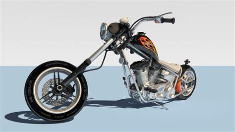 Harley Davidson Chopper 3d Model