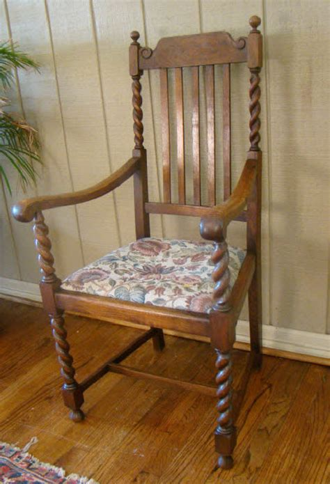 antique carved oak barley twist arm chair a for