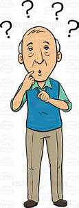 Cartoon Clipart: Old Man Standing With A Confused Look On ...