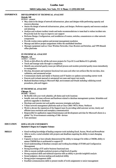 Resume For It by It Technical Analyst Resume Sles Velvet