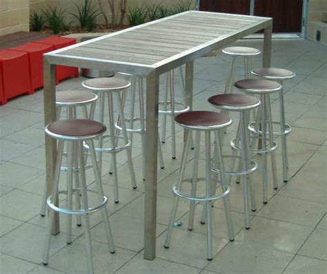 contemporary stainless steel table ls bar table contemporary stainless steel timber alfresco