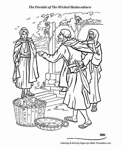 Coloring Bible Wicked Jesus Parables Parable Tenant
