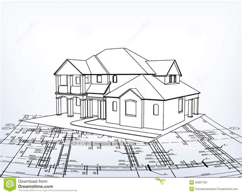 house vector technical draw stock vector image