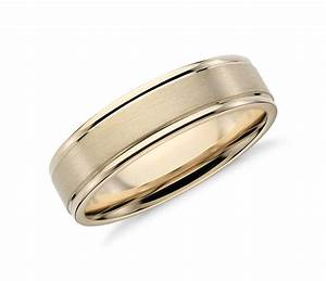 Brushed Inlay Wedding Ring In 14k Yellow Gold 6mm Blue