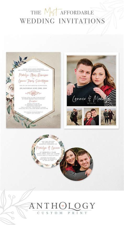 Watercolor geometric wedding invites Affordable Wedding