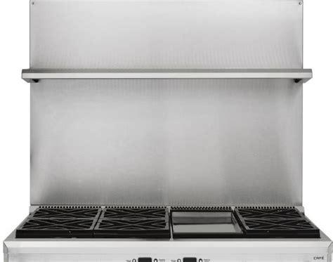 height stainless steel backsplash  shelf   range    stainless