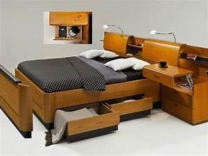 Lit Avec Rangement Intégré : lit avec chevet integre maison design ~ Teatrodelosmanantiales.com Idées de Décoration