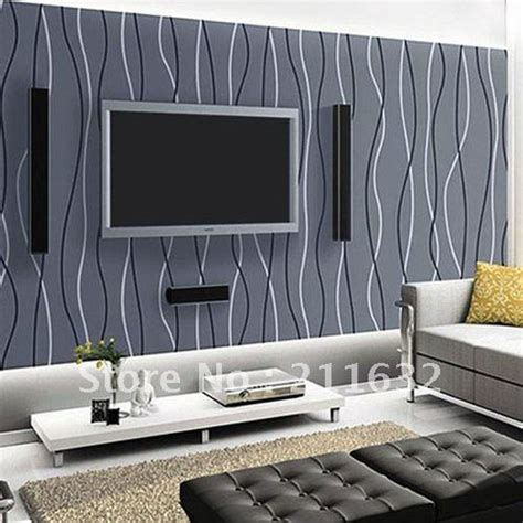 Contemporary Living Room Wallpaper by Free Shipping Modern Striped Vinyl Living Room Tv
