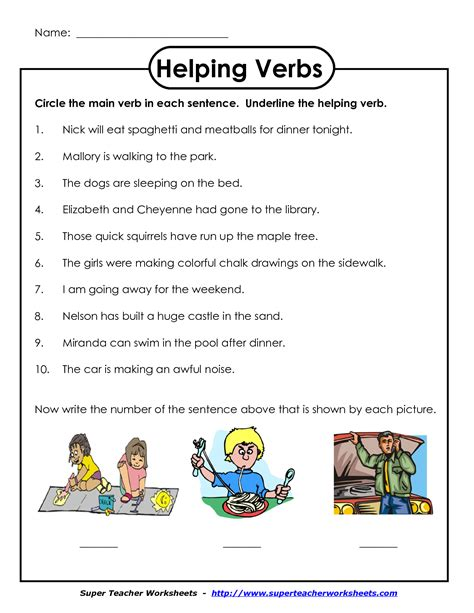 helping verbs worksheet 2nd grade worksheets for all