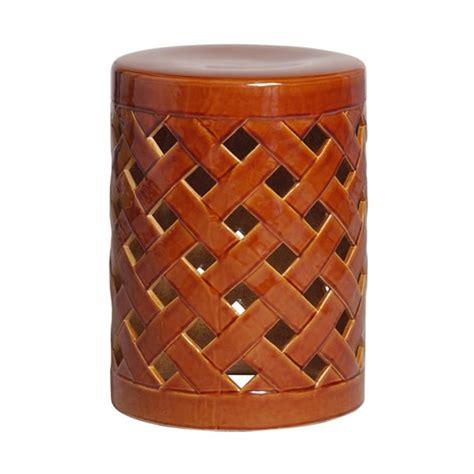 outdoor ceramic crisscross garden stool