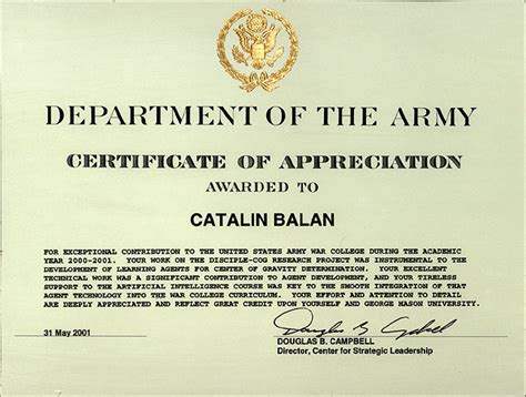 army spouse certificate of appreciation exle