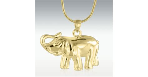 elephant solid  gold cremation jewelry